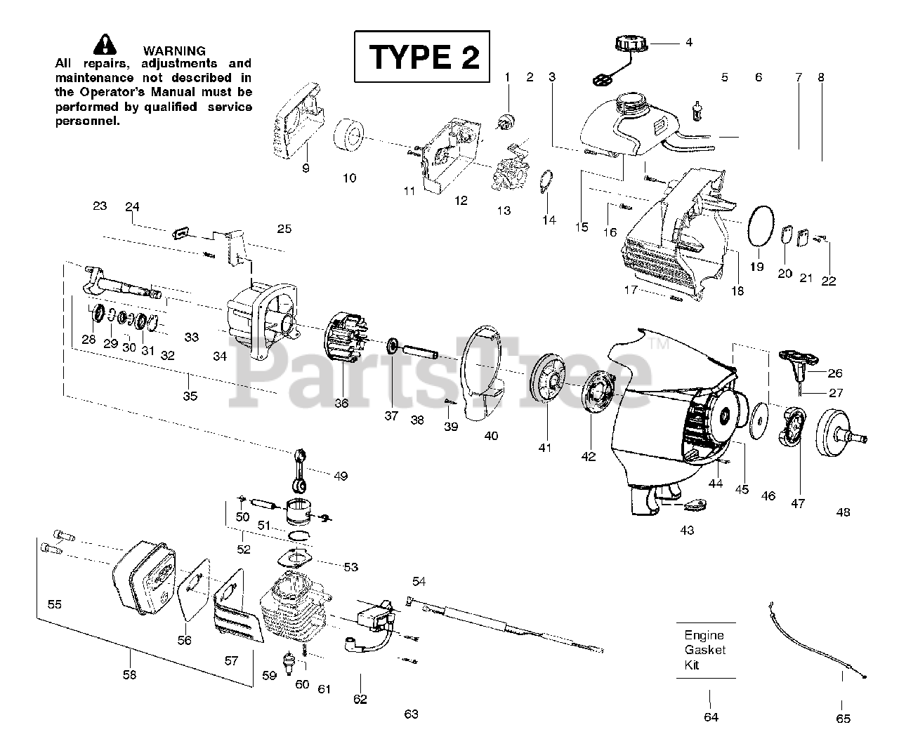 Poulan Pro Parts On The Engine Assembly Type 2 Diagram For