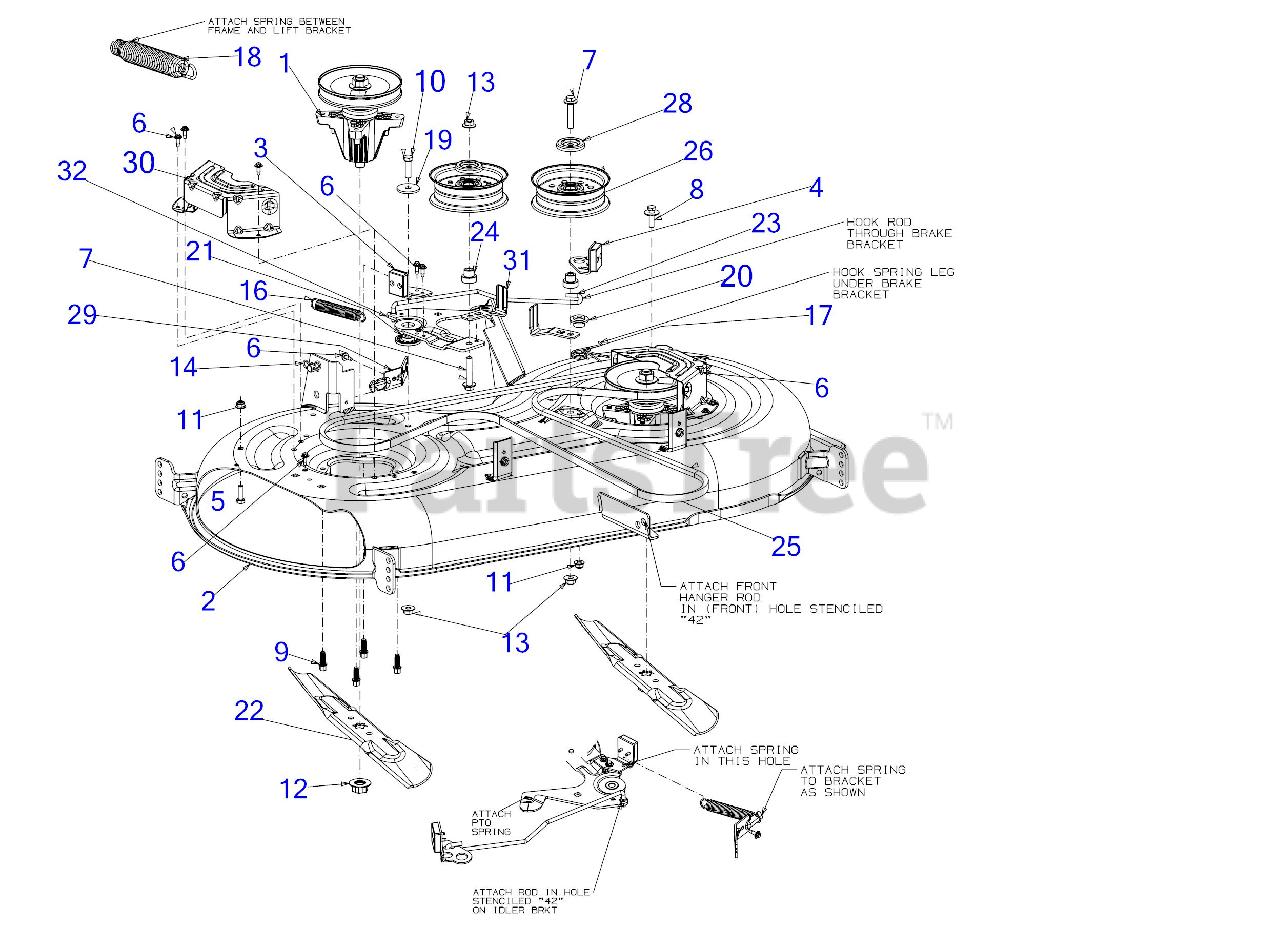 Cub Cadet Parts on the Deck Diagram for XT1-LT 42