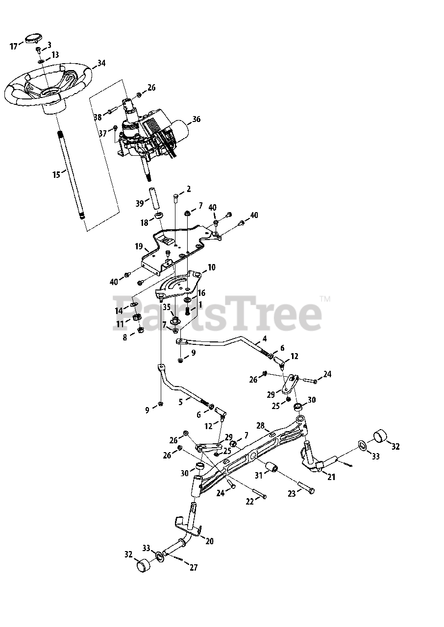 Cub Cadet Parts on the Steering Diagram for GTX 1054