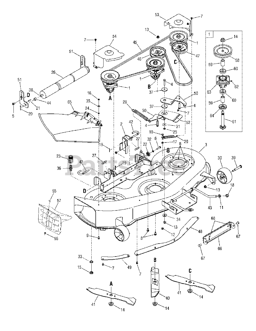 Cub Cadet Parts on the Mowing Deck i1046 Diagram for i1046