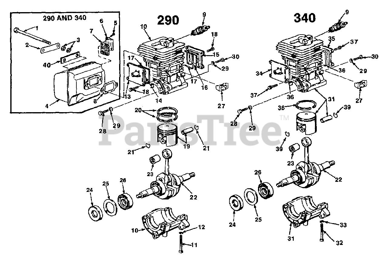 Homelite Parts on the Engine Internals Diagram for 340 (UT