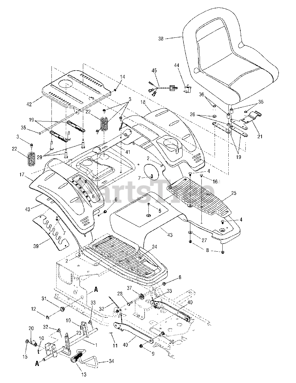 Cub Cadet Parts on the Seat, Fender and Deck Lift Diagram