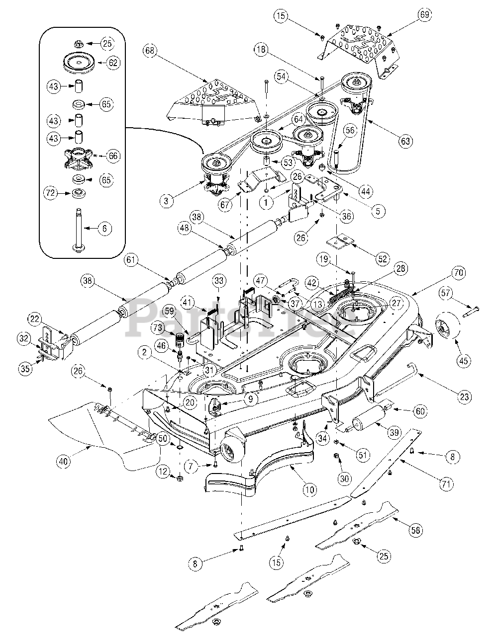 Cub Cadet Parts on the Mower Deck 54 inch Diagram for GT