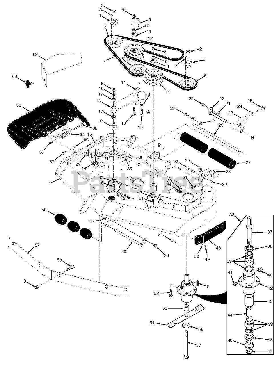 Scag Parts on the 48V & 52V Cutter Decks Diagram for