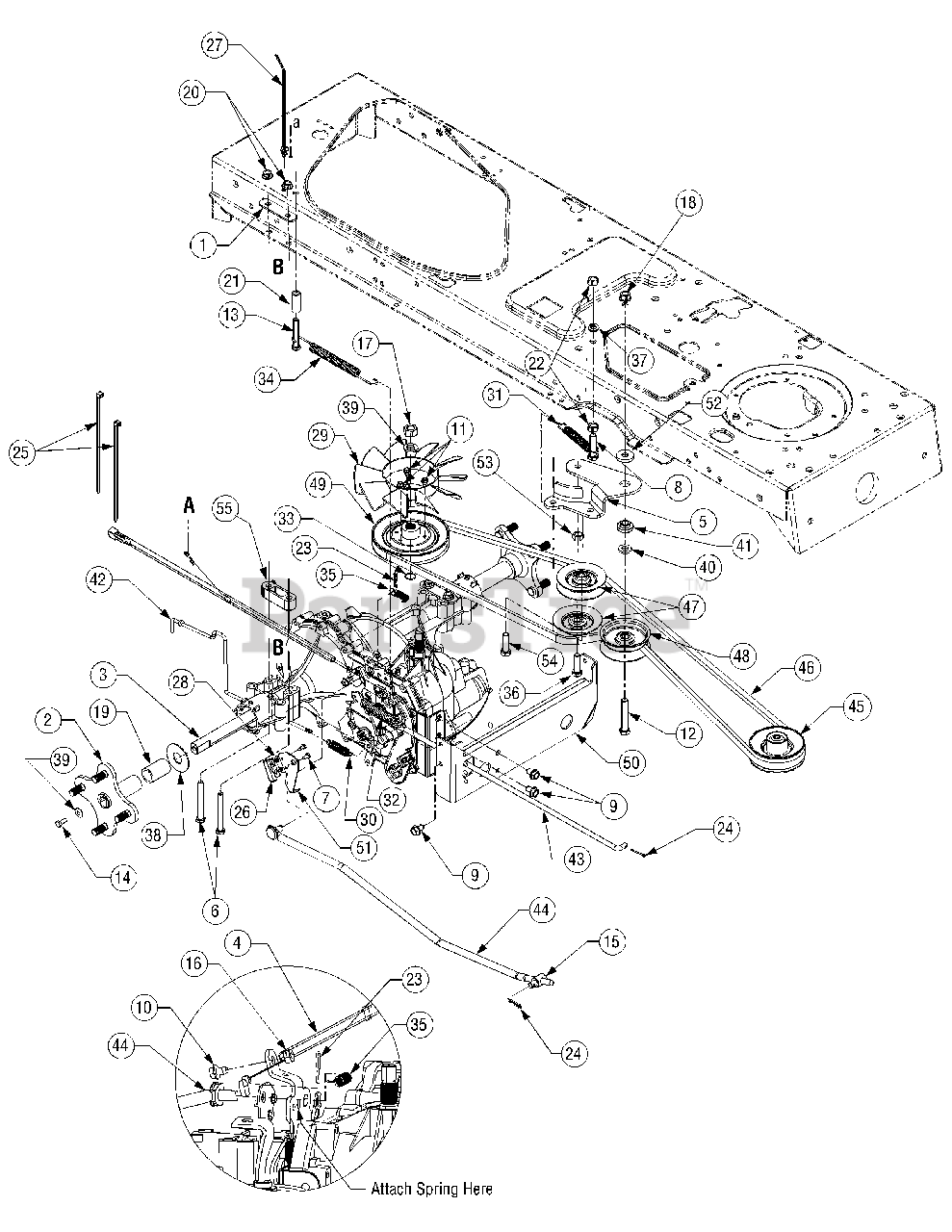 Cub Cadet Parts on the Drive System Diagram for SLT 1554