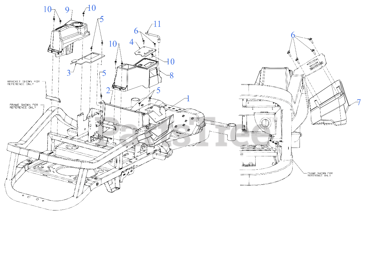 Cub Cadet Parts on the Platform Diagram for ZT1-50 KW FAB