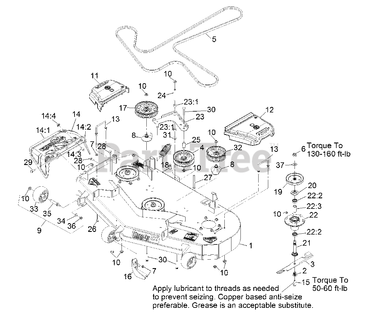 Exmark Parts on the Deck Assembly Diagram for PNS680KC523