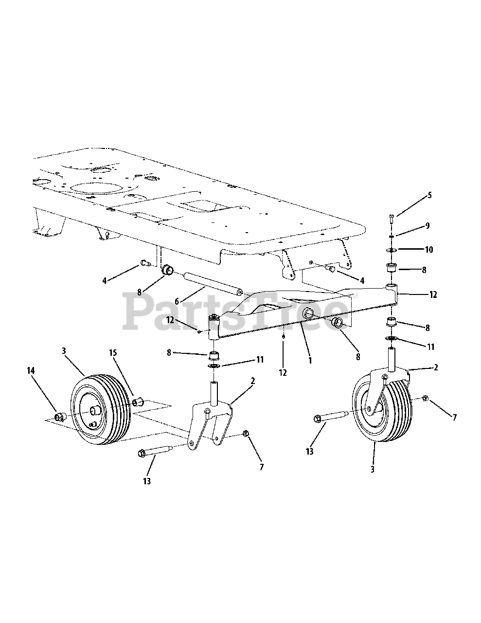 Cub Cadet Parts on the Front Axle Diagram for RZT-42