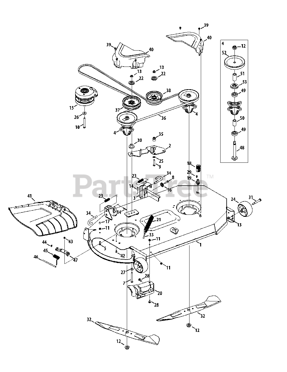 Cub Cadet Parts on the Mower Deck 46-Inch Diagram for RZT
