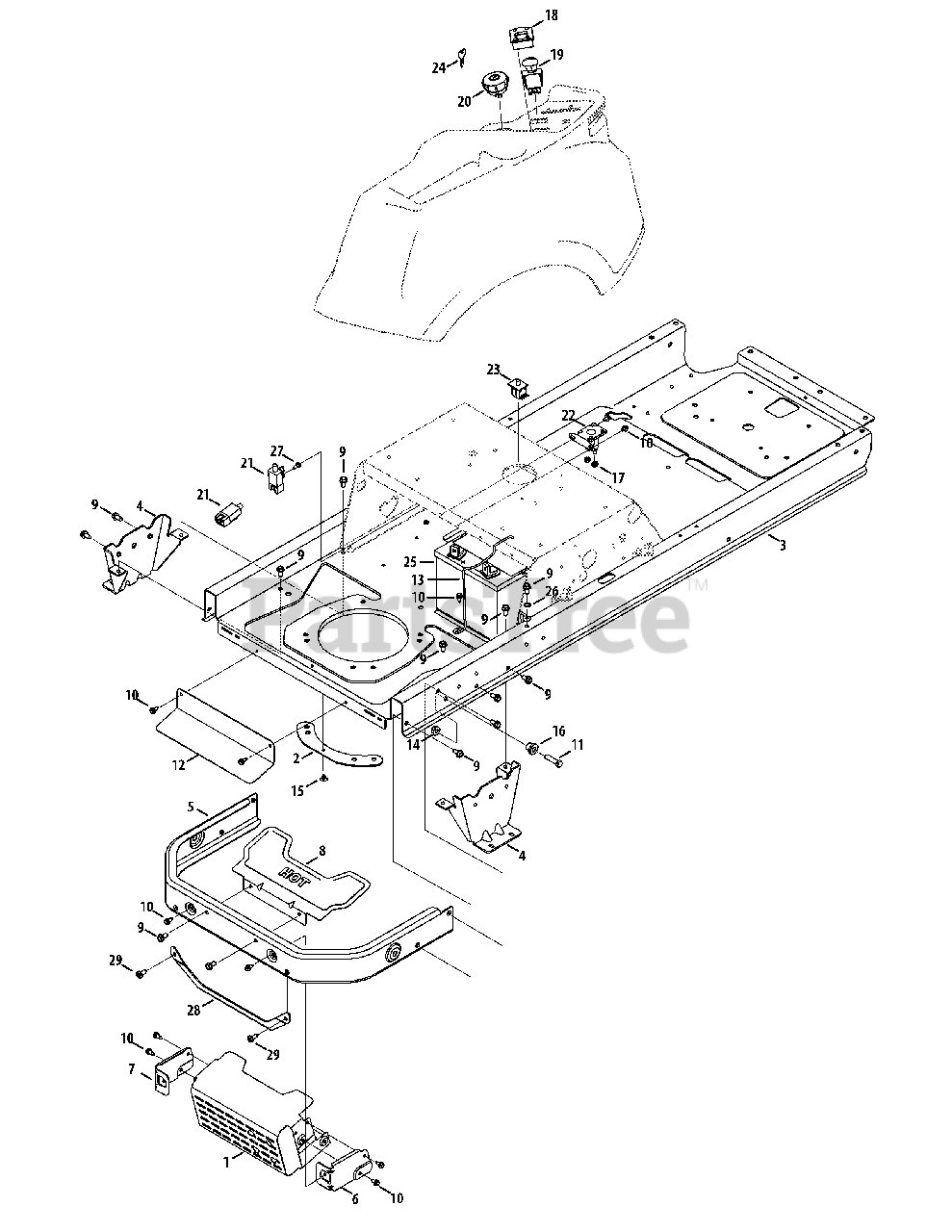 Cub Cadet Parts on the Frame & Electrical Diagram for RZT