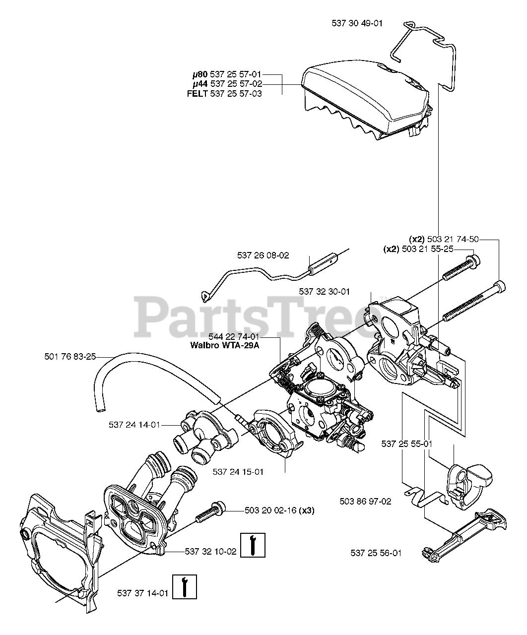 Husqvarna Parts on the Air Filter / Carburetor Diagram for