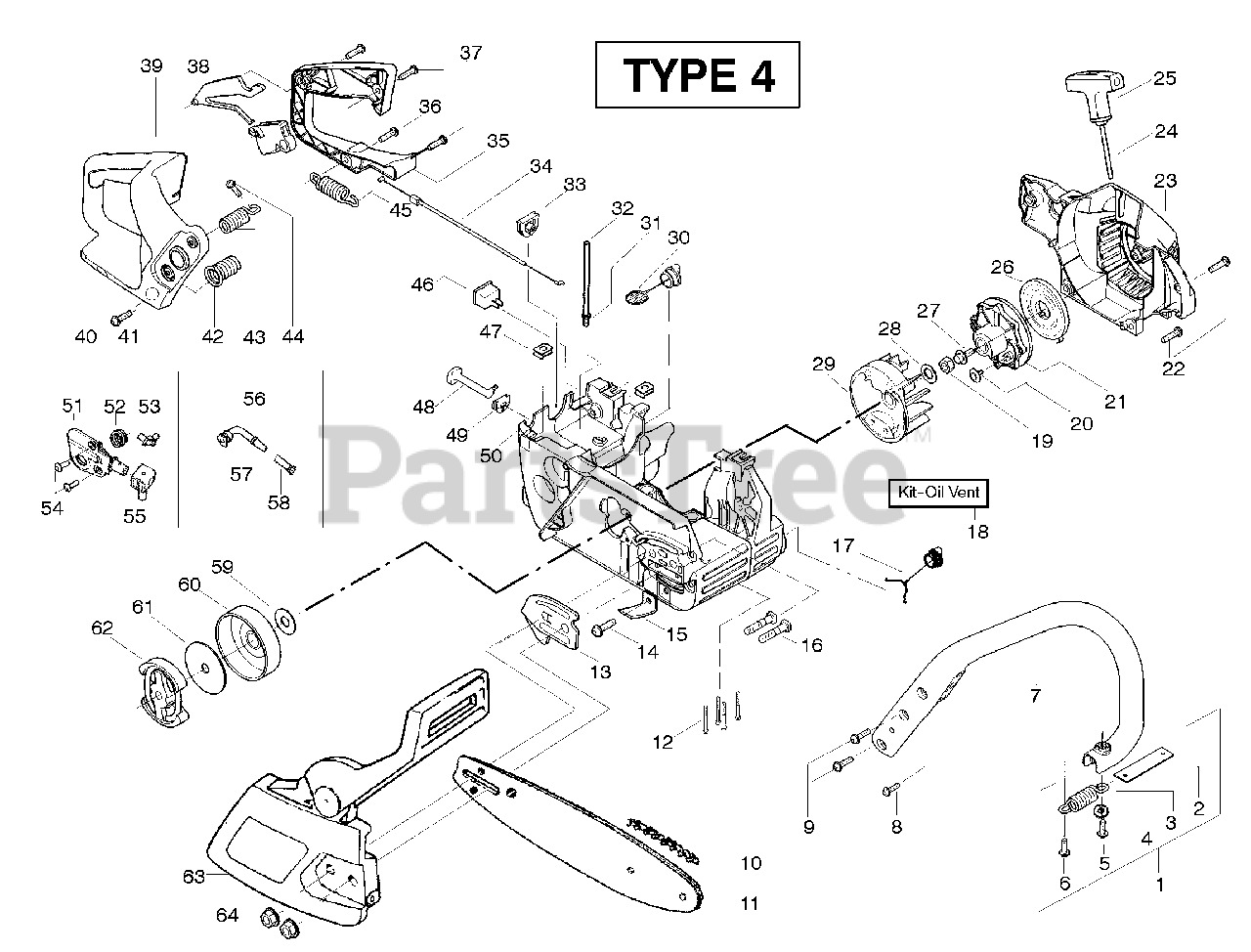 Poulan Pro Parts on the Starter Type 4 Diagram for PP 220
