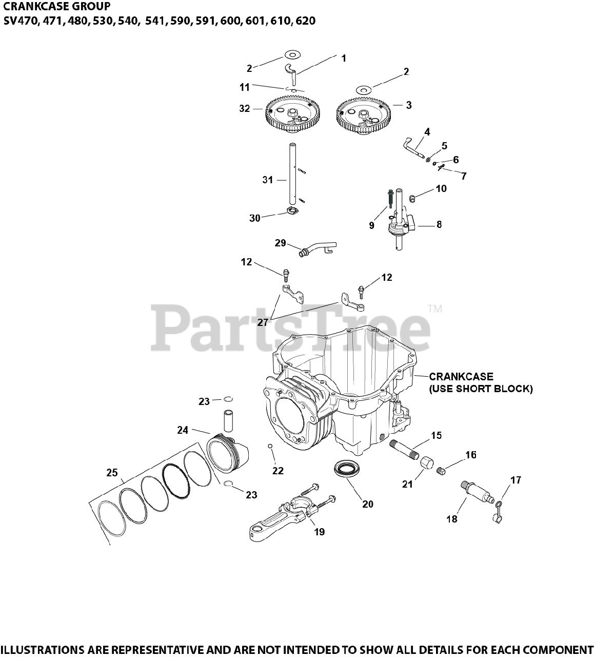 Kohler Parts on the Crankcase Group 2-20-22 SV470-620