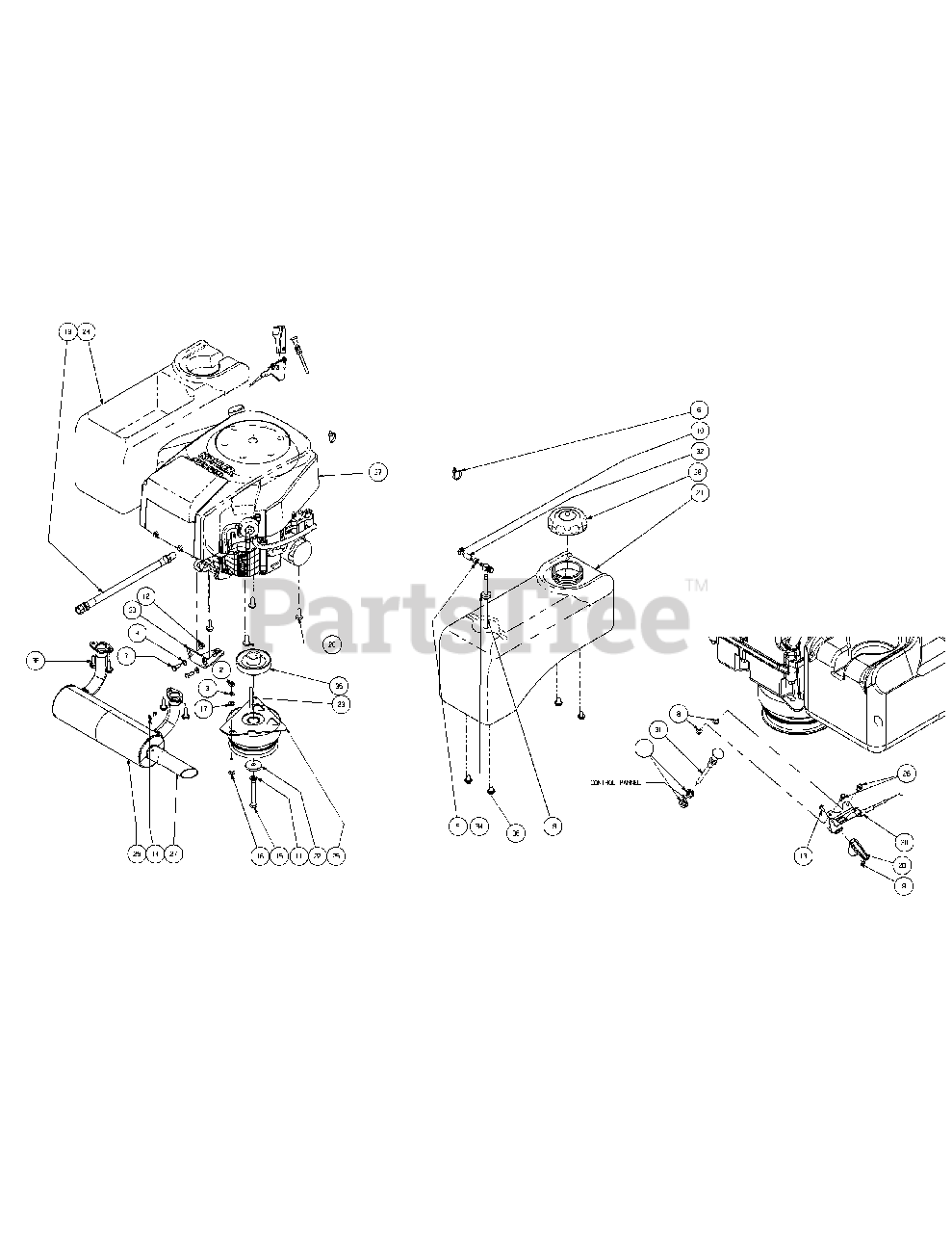 Cub Cadet Parts on the Kohler Engine Assembly 23HP Diagram