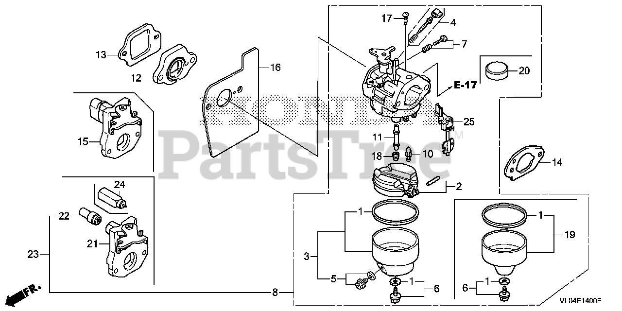 Honda Parts on the CARBURETOR Diagram for HRR216 K10 VKAA