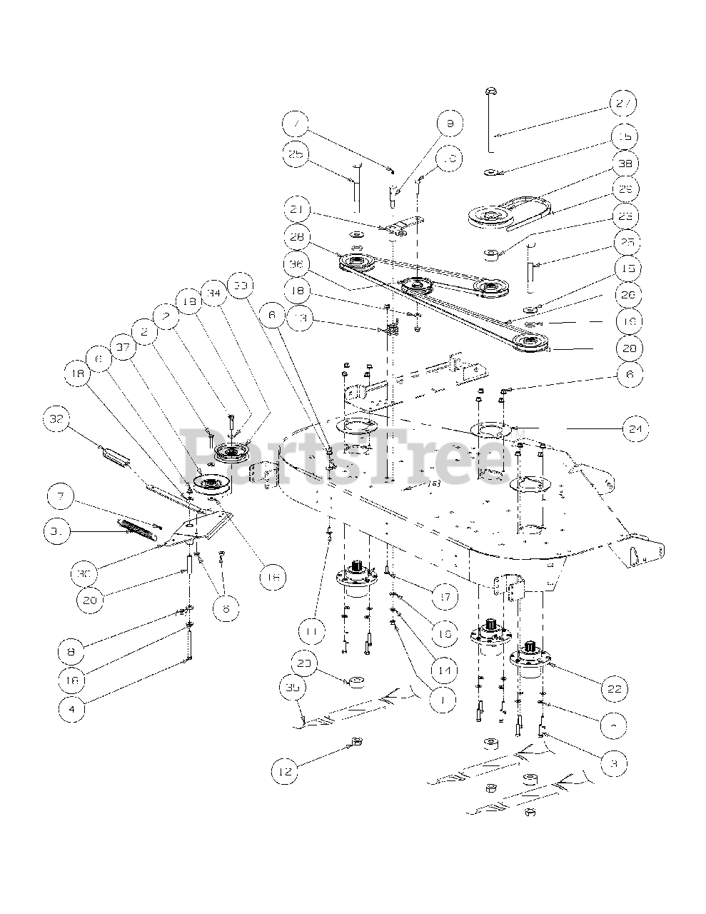 Cub Cadet Parts on the Deck Spindle Assembly Diagram for