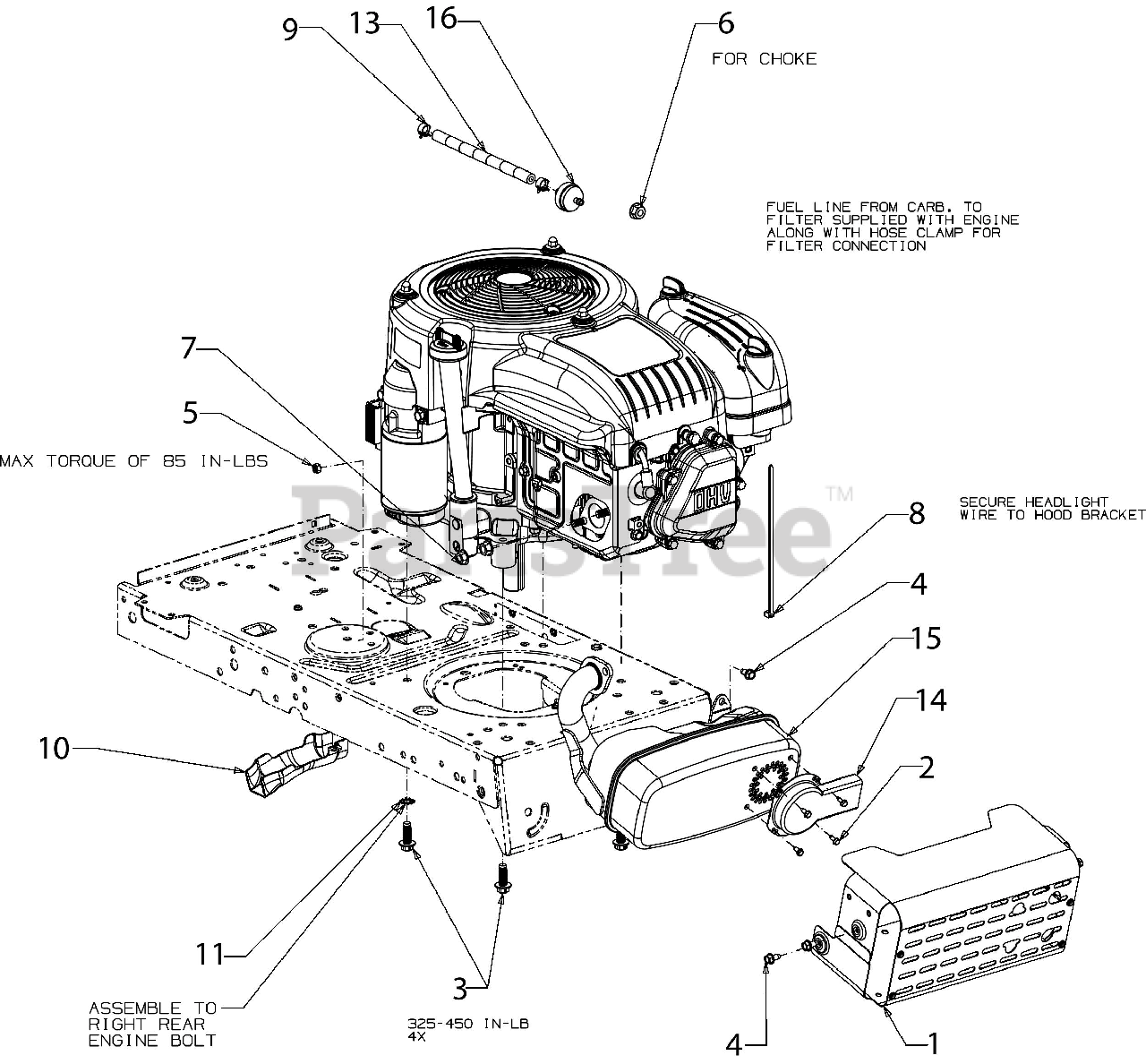 Troy Bilt Parts On The Engine Accessories Diagram For Tb