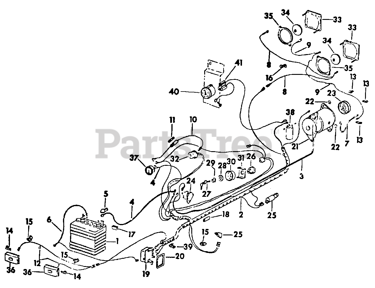 Cub Cadet Parts on the Starting & Lighting Diagram for 169