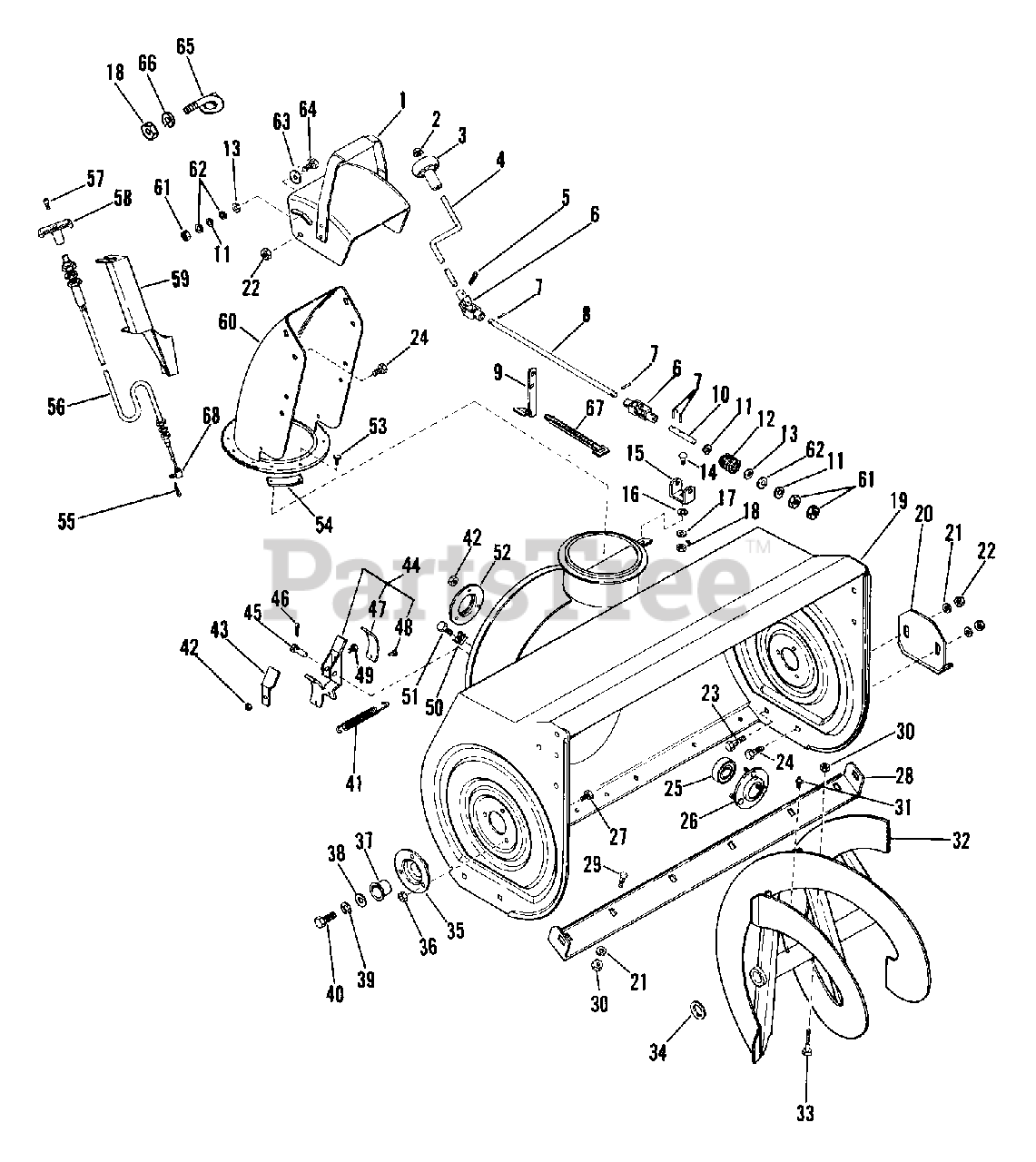 Ariens Parts on the Auger / Impeller Diagram for 924079