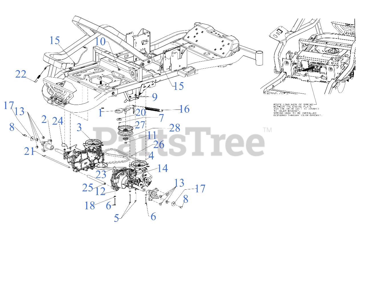 Cub Cadet Parts on the Drive Diagram for ZT1-50 KW FAB