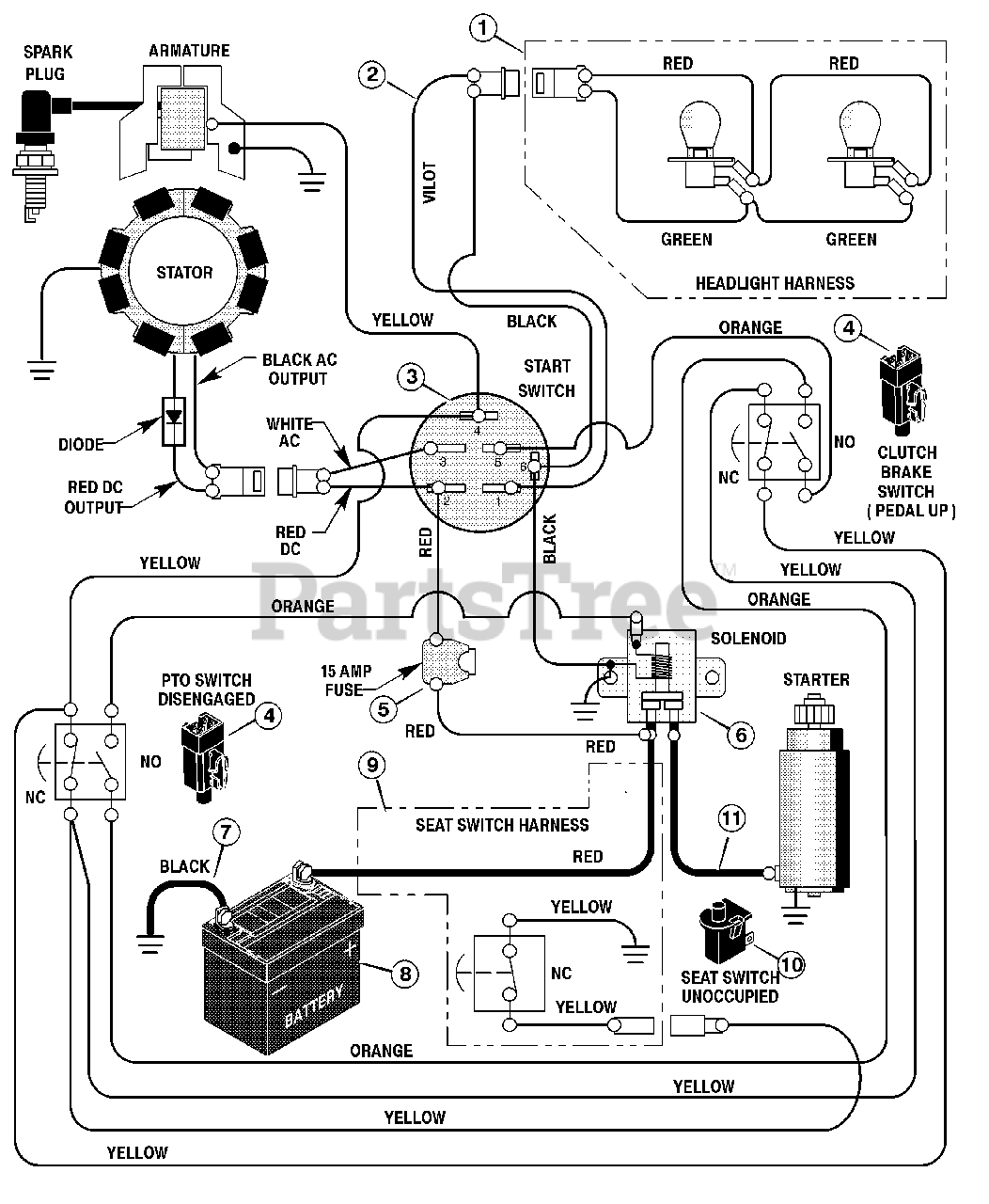 Briggs & Stratton Parts on the Electrical System Diagram