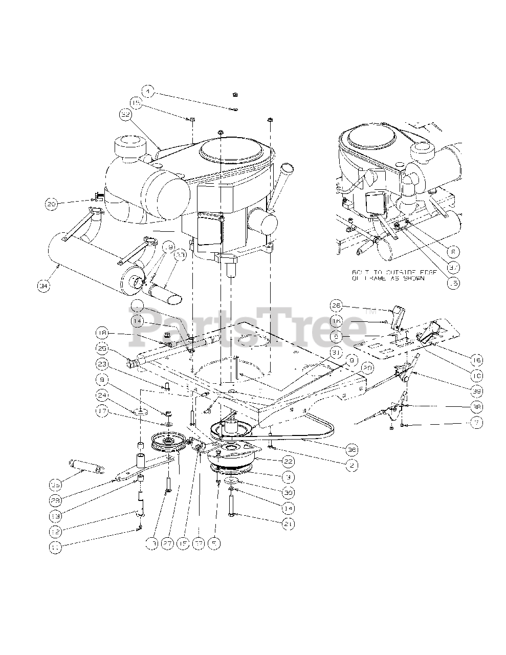 Cub Cadet Parts on the Engine Assembly Diagram for M54-KW