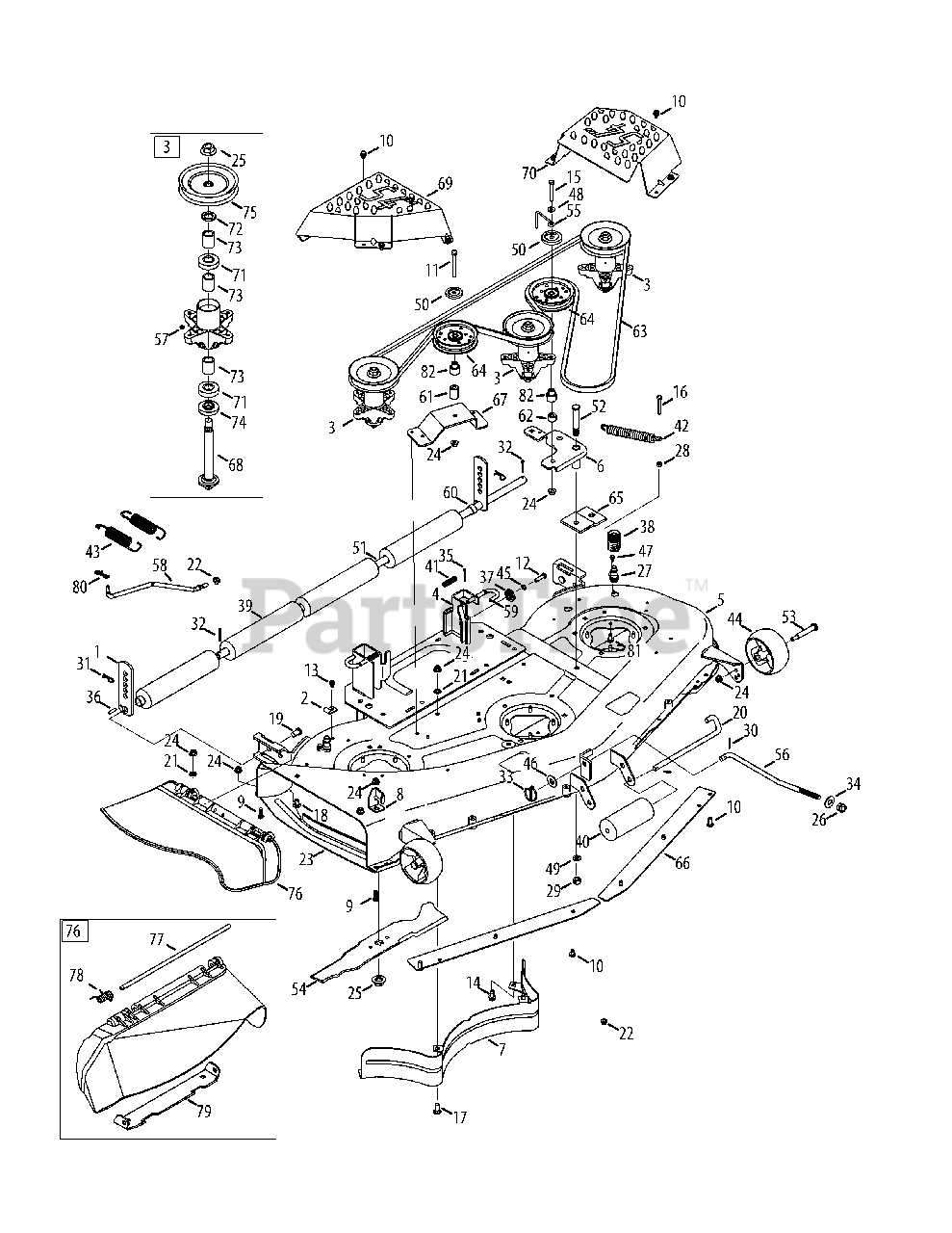 Cub Cadet Parts on the Mower Deck 54-Inch Diagram for GT