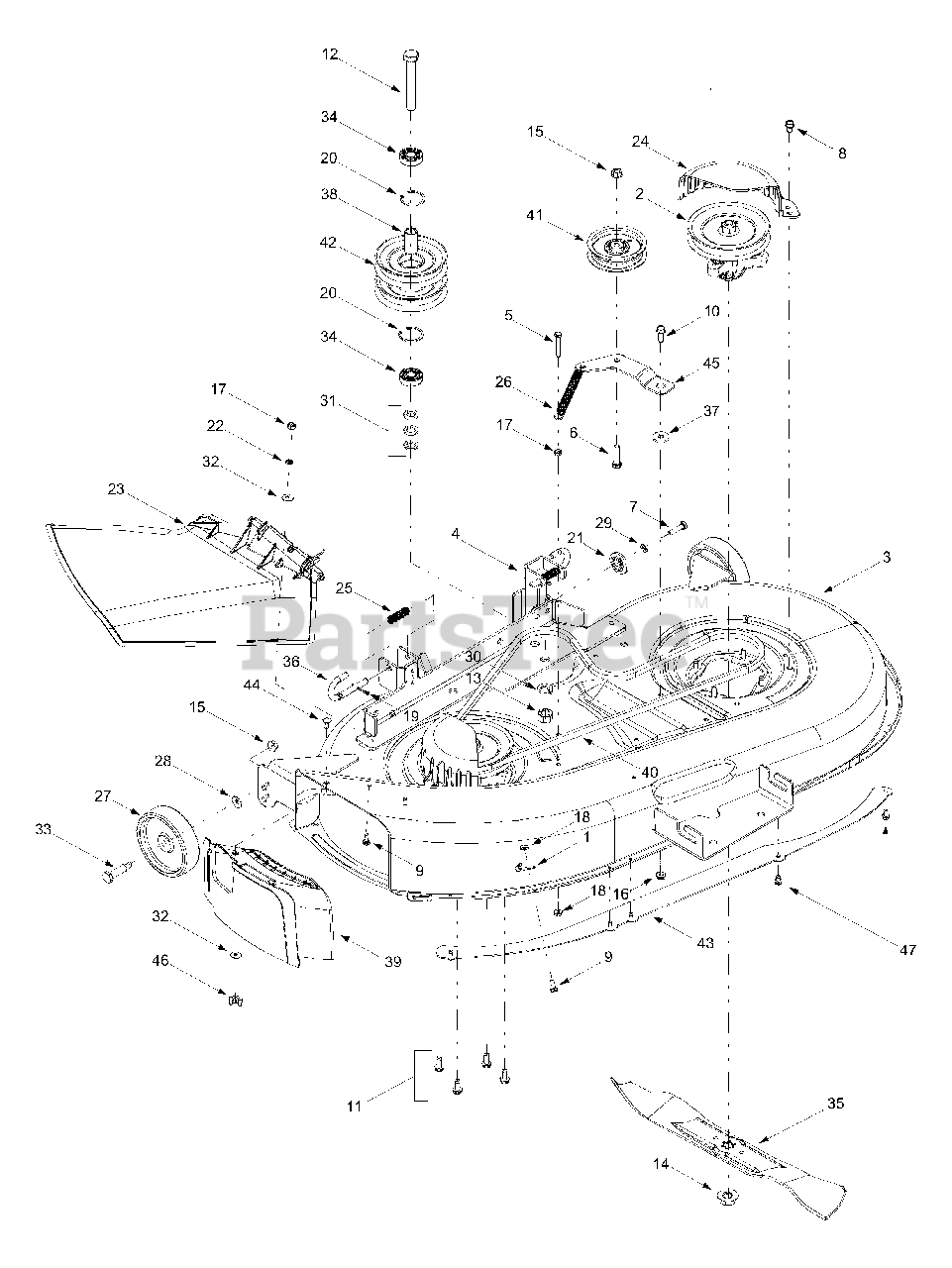 Cub Cadet Parts on the Deck Assembly Diagram for 1170