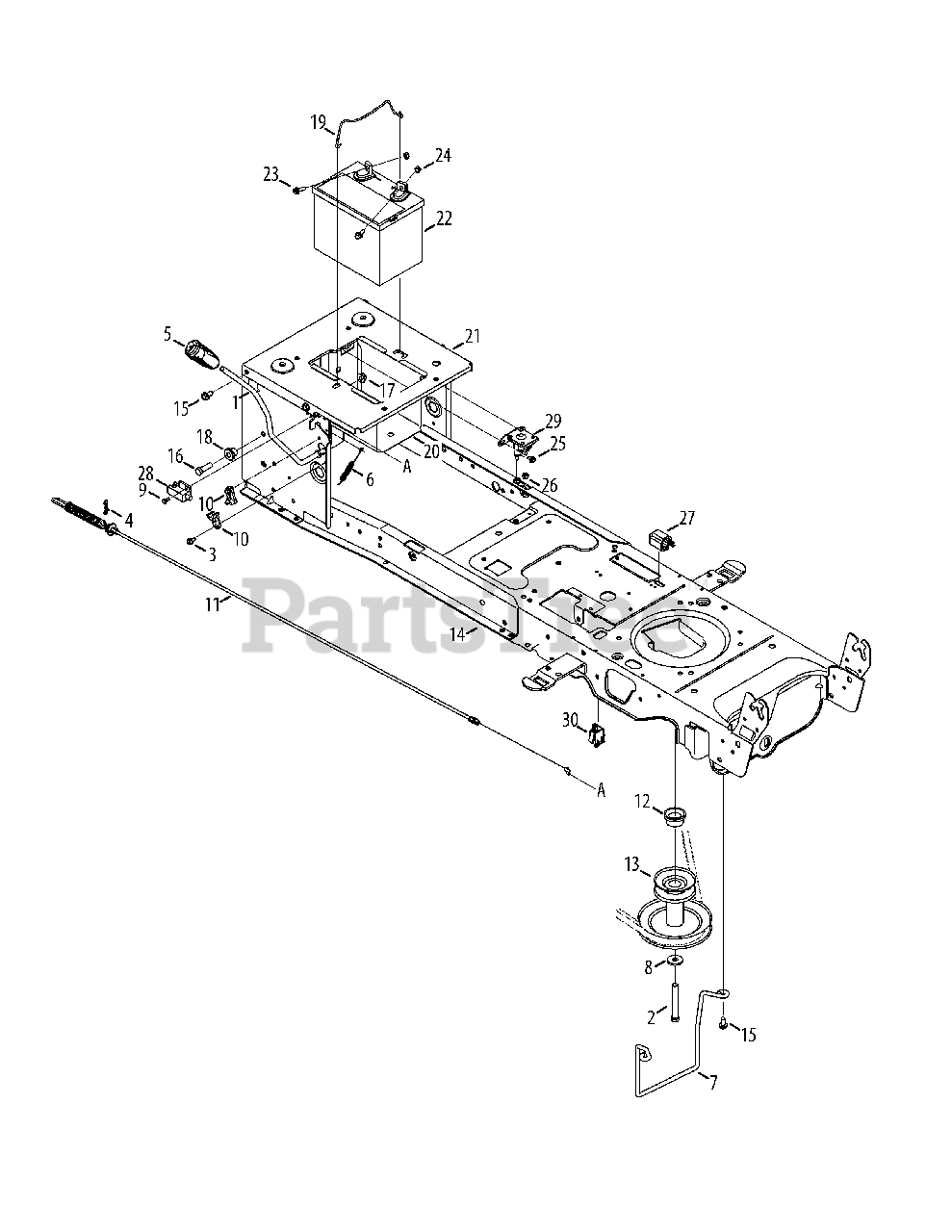 Yard-Man Parts on the Manual PTO & Battery Diagram for