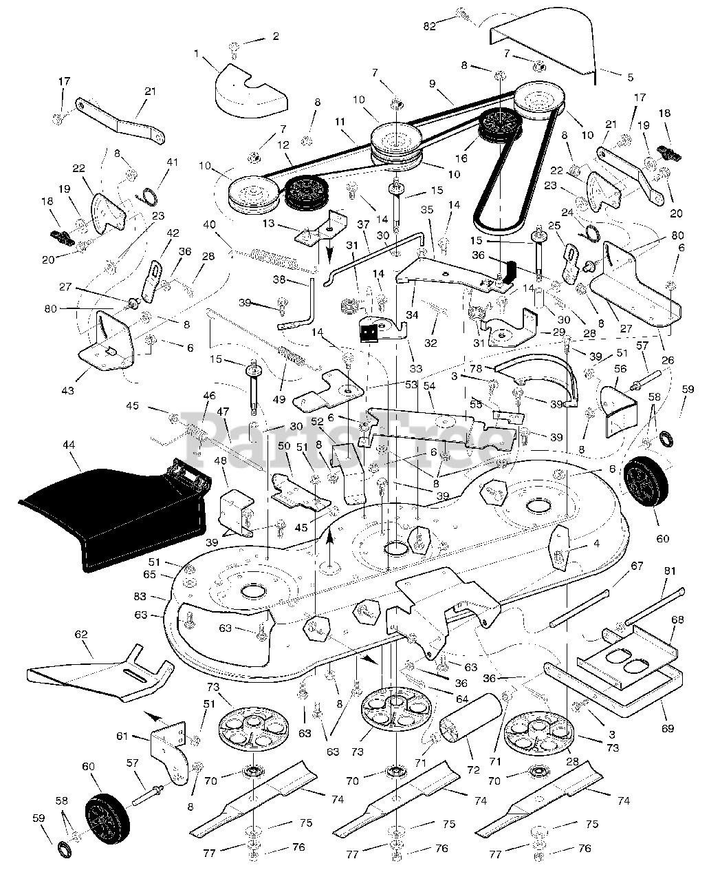 Murray Parts On The Mower Housing Diagram For X8a