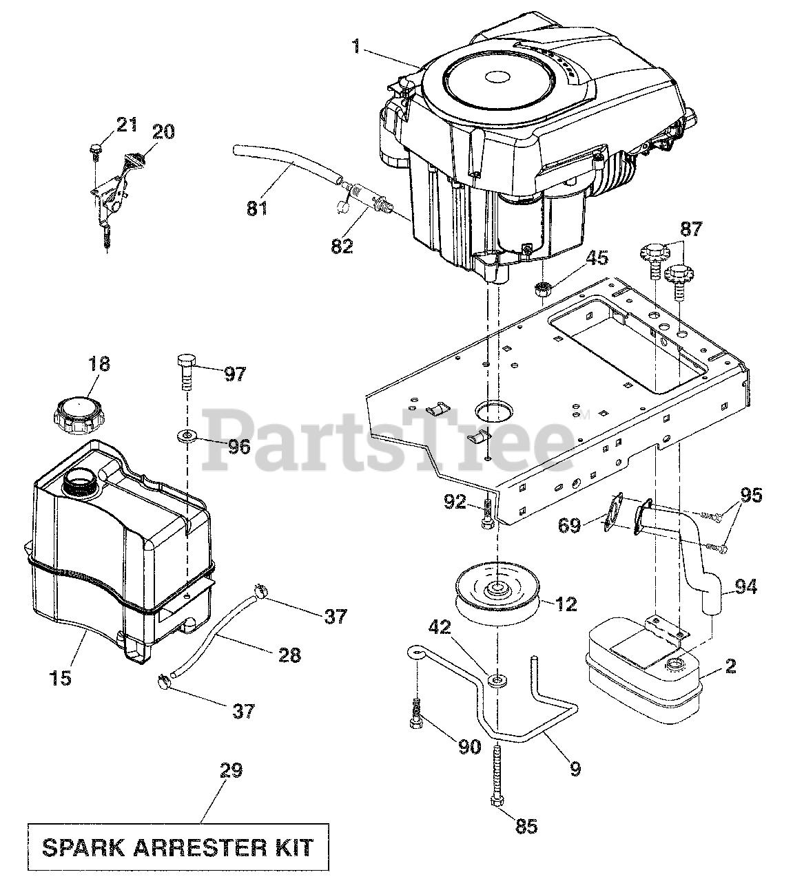 Husqvarna Parts On The Engine Diagram For Yth 20k46