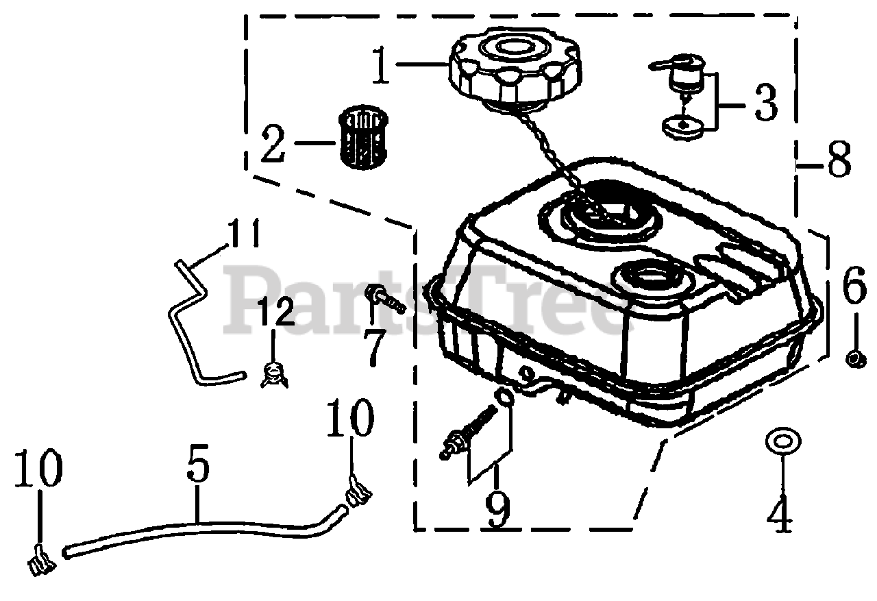 Generac Parts on the Fuel Tank Diagram for 0060223