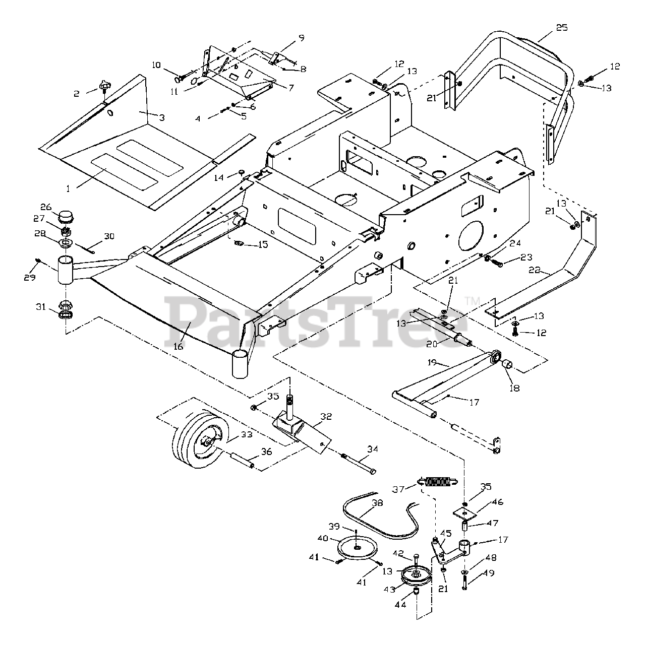 Husqvarna Parts on the Main Frame Diagram for ZTH 6125 KAA