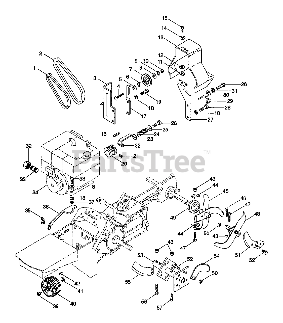 Ariens Parts On The Belt Drive And Tines Diagram For