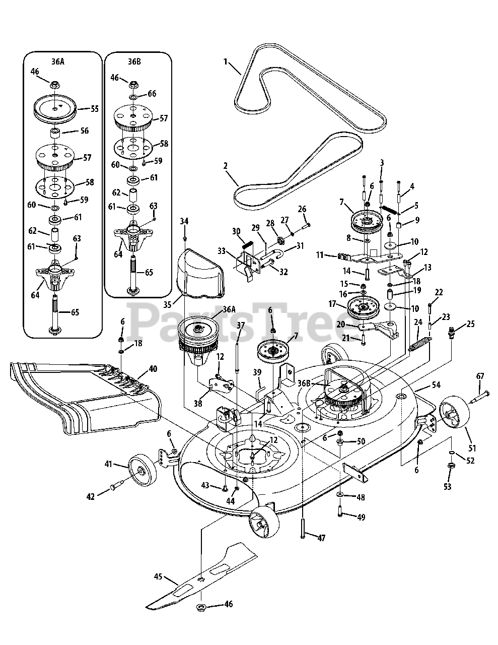 Cub Cadet Parts on the Mowing Deck 42 Inch Diagram for LTX