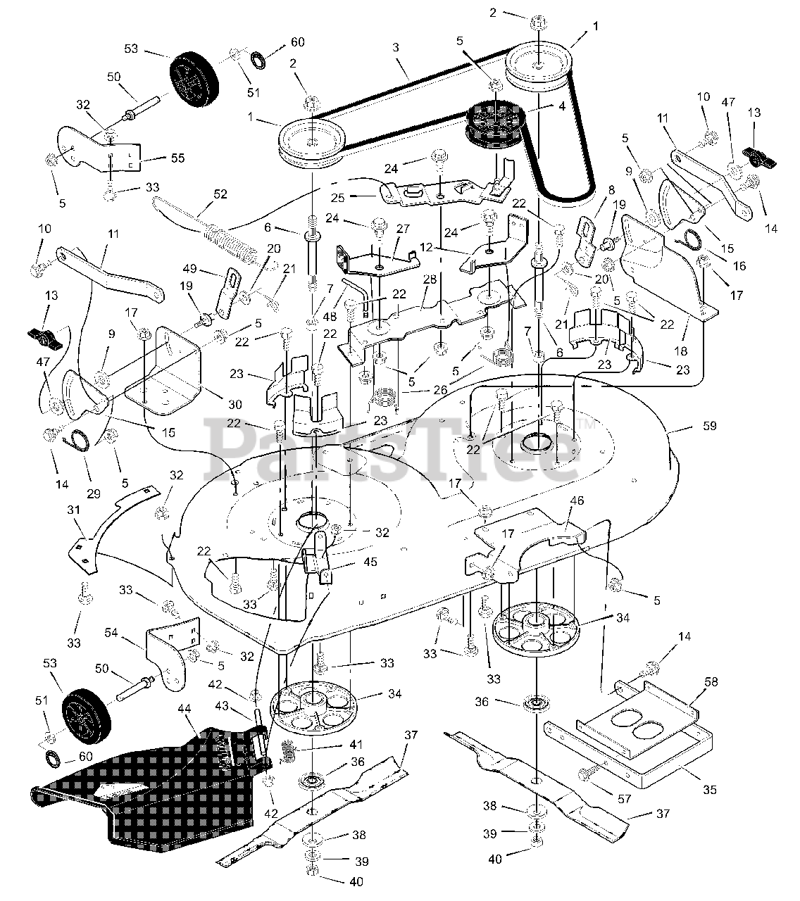 Murray Parts on the Mower Housing Diagram for 42590x92A