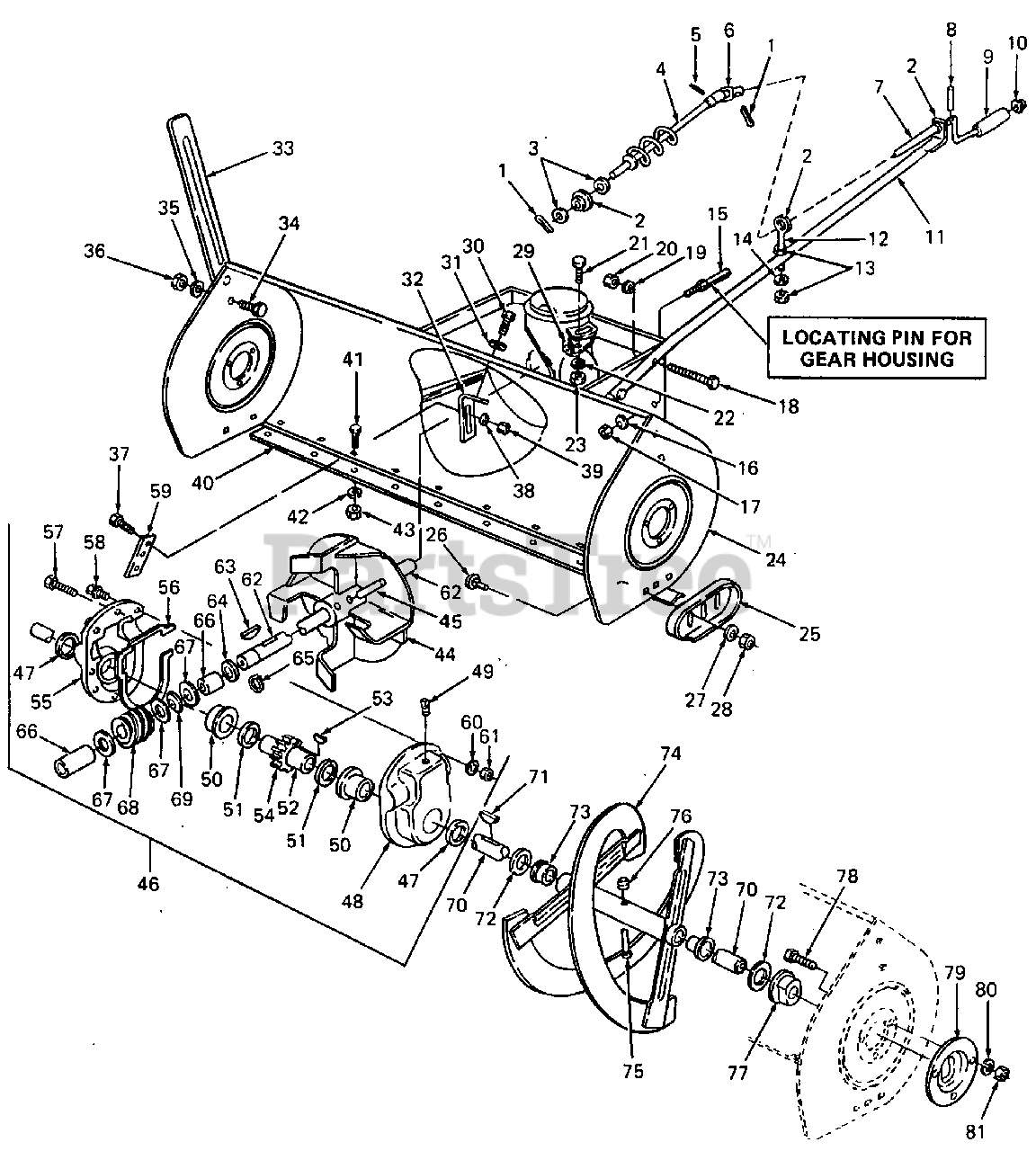 Cub Cadet Parts on the Housing & Chute Crank Diagram for