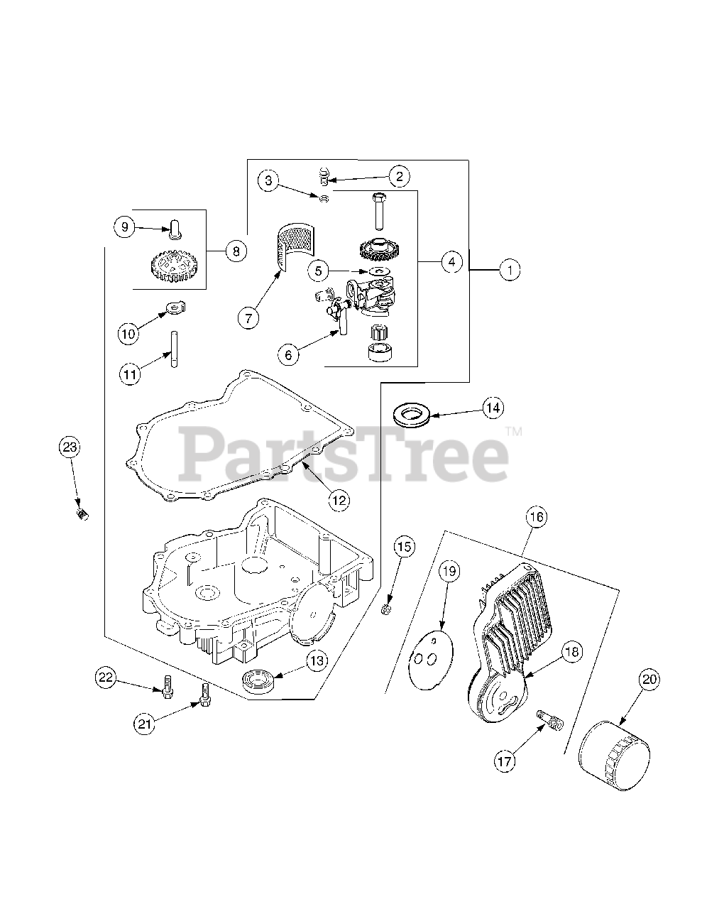 Cub Cadet Parts on the Oil Pan Lubrication Diagram for SLT