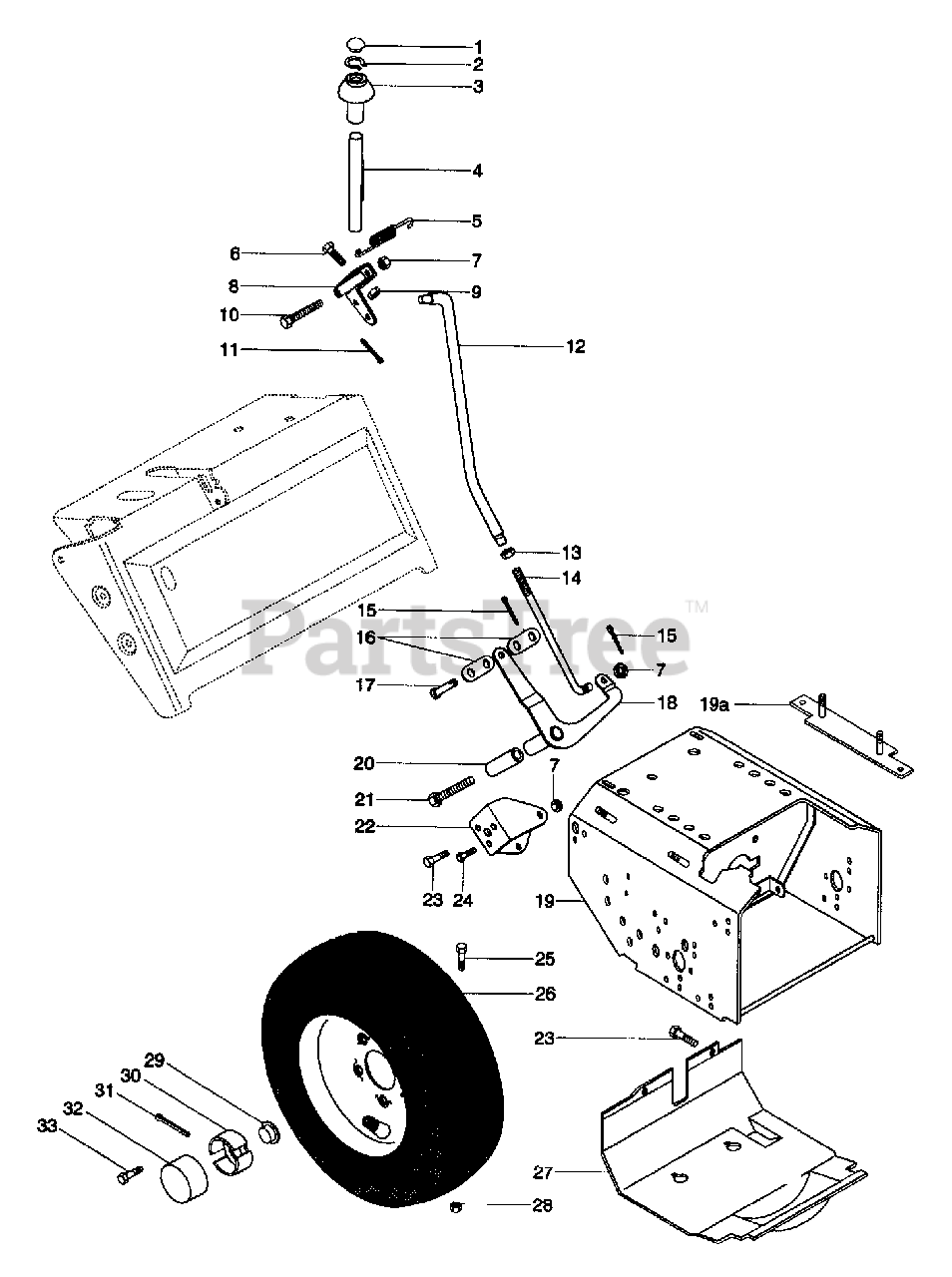 Ariens Parts on the Speed Selector And Wheels Diagram for
