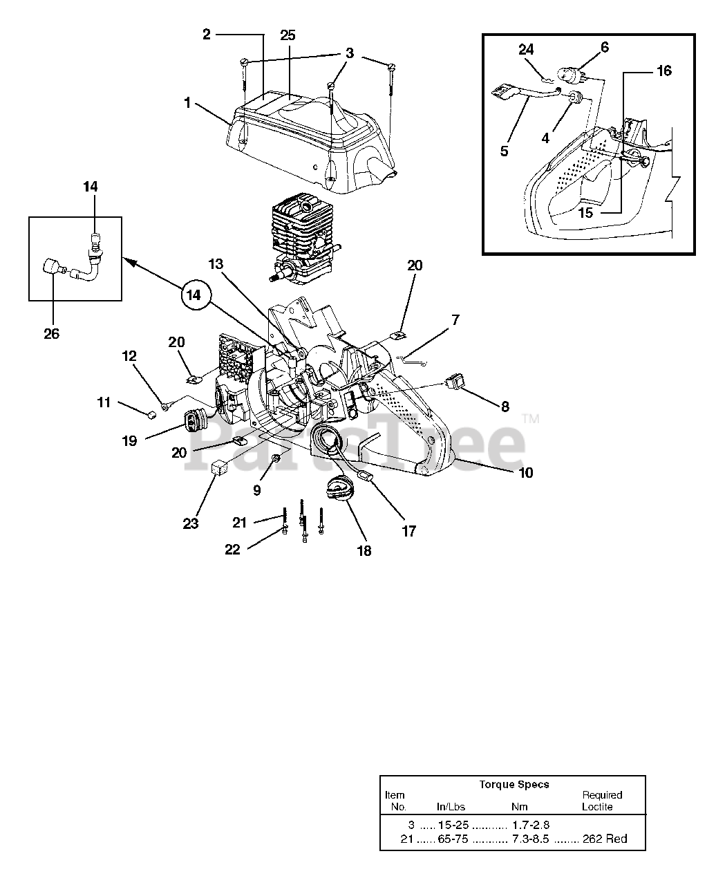 Homelite Parts On The Engine Housing