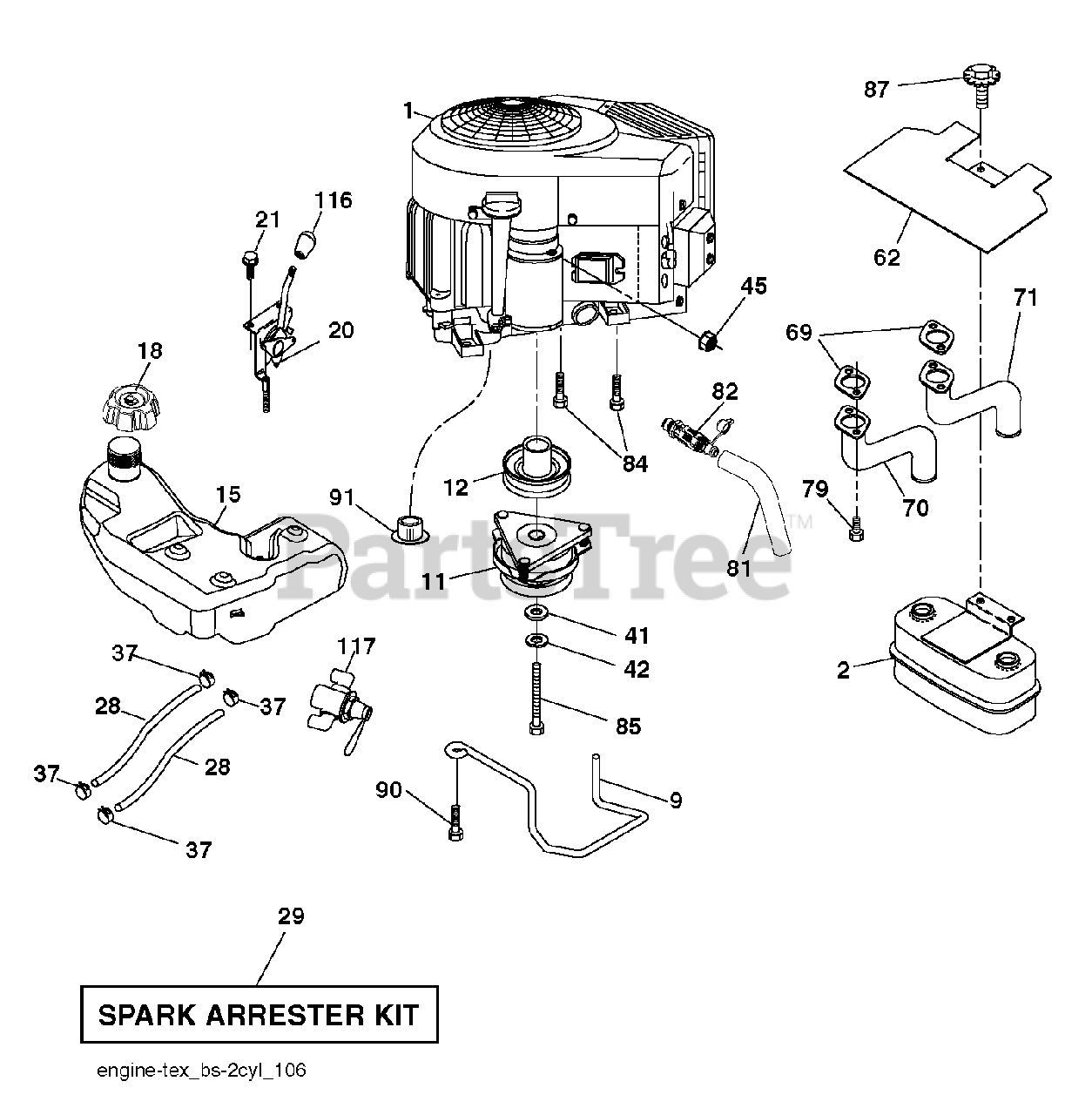 Husqvarna Parts On The Engine Diagram For Gt 48 Xlsi
