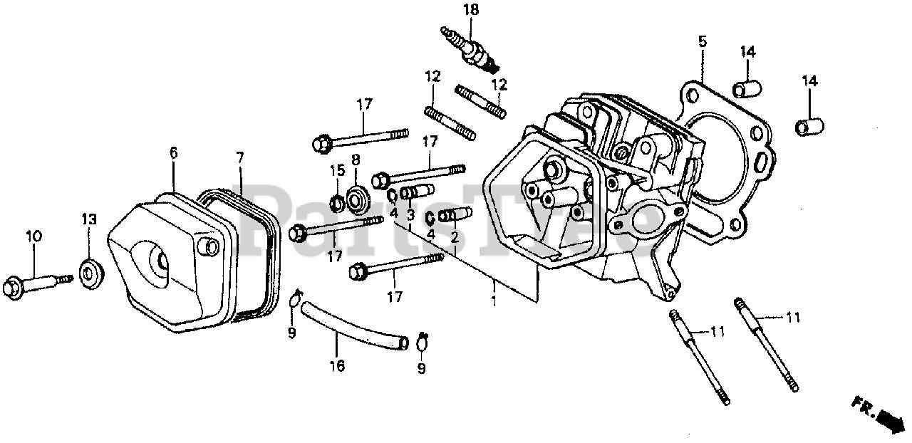 Honda Parts on the CYLINDER HEAD Diagram for GX240 HA