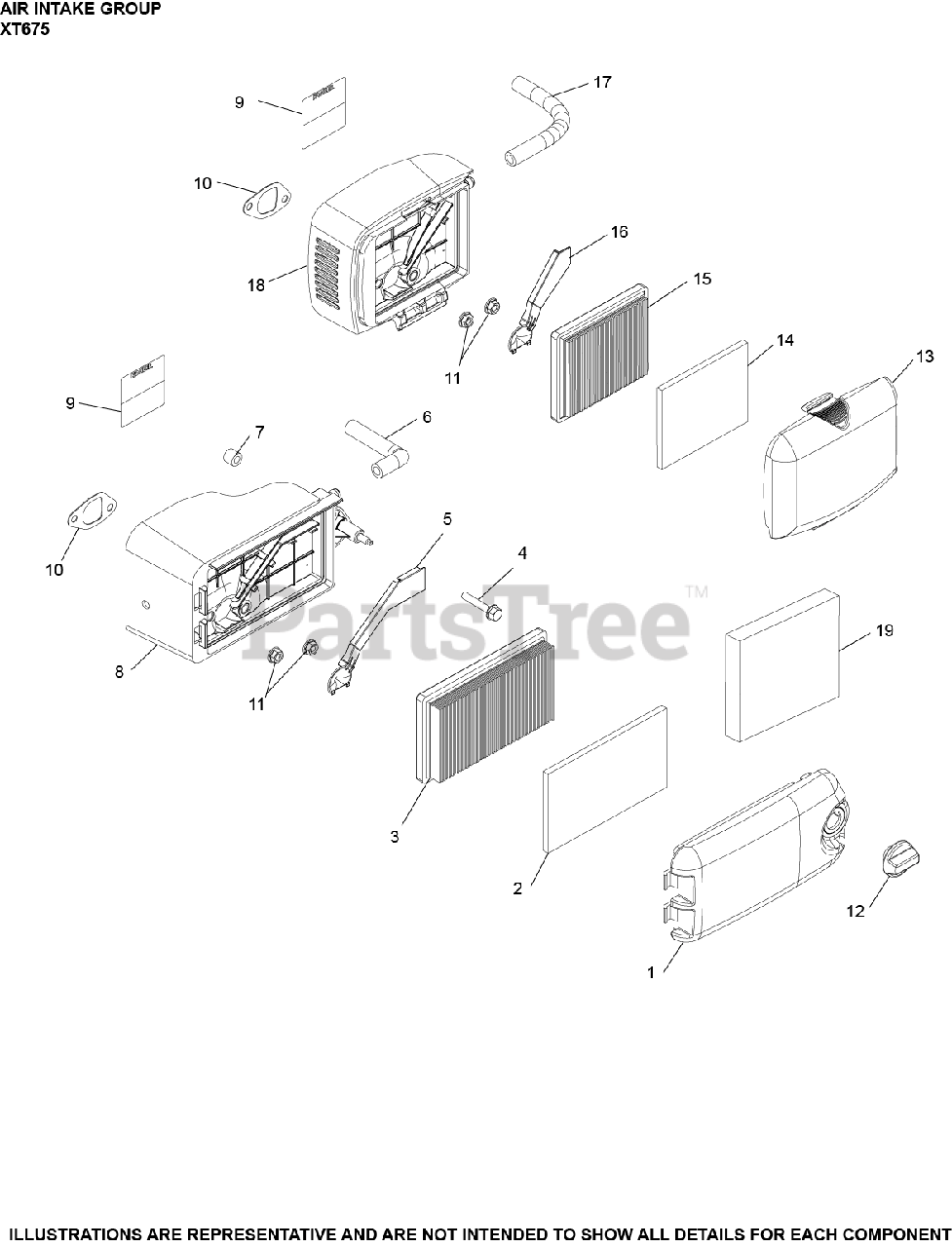 Kohler Parts on the Air Intake Group XT675-2101 Diagram