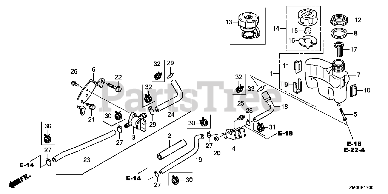 Honda Parts on the FUEL TANK Diagram for GCV160 LA0 S3A