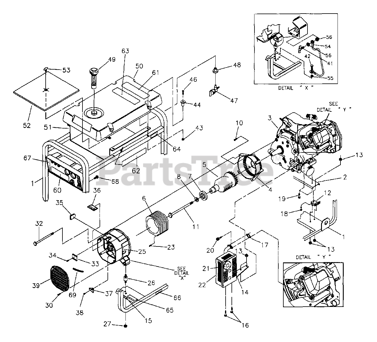 Generac Parts on the Main Unit Diagram for 9777-2