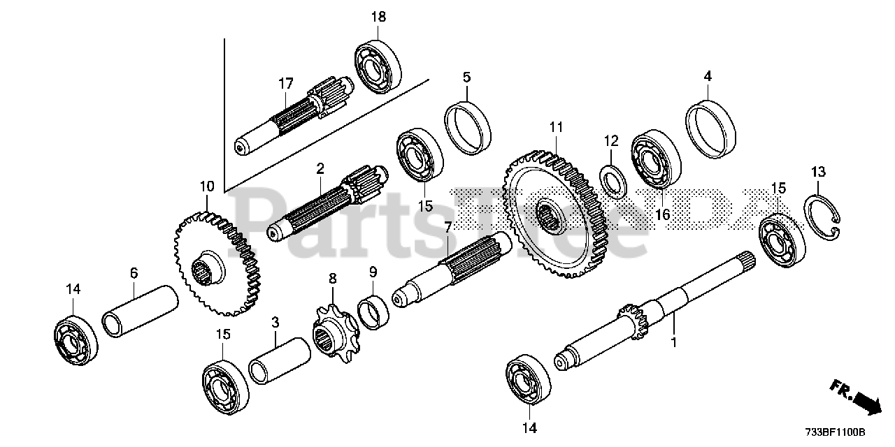 Honda Parts on the TRANSMISSION GEAR Diagram for FC600 A