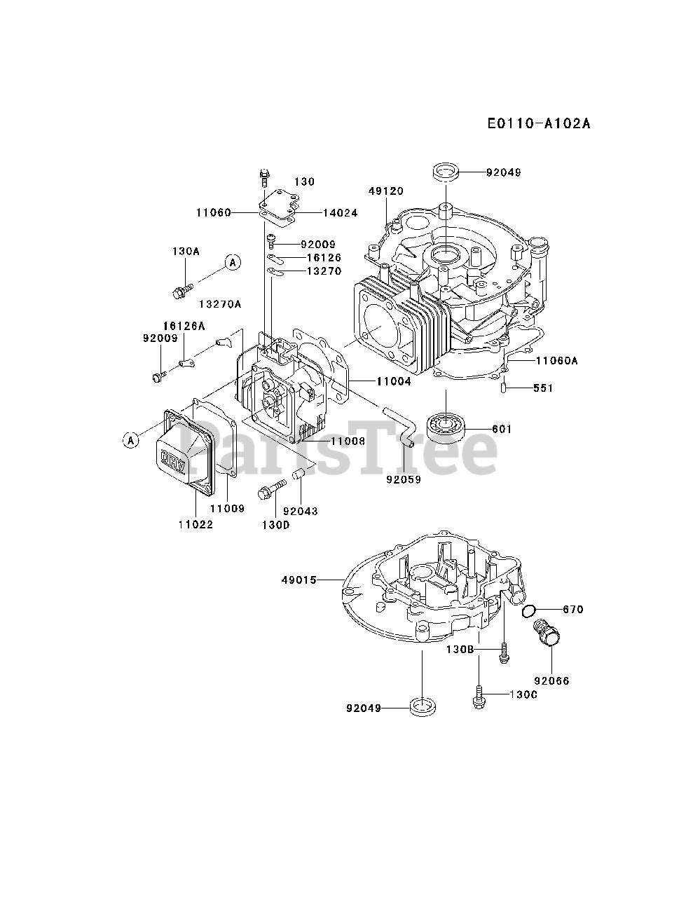 Kawasaki Parts on the CYLINDER/CRANKCASE Diagram for