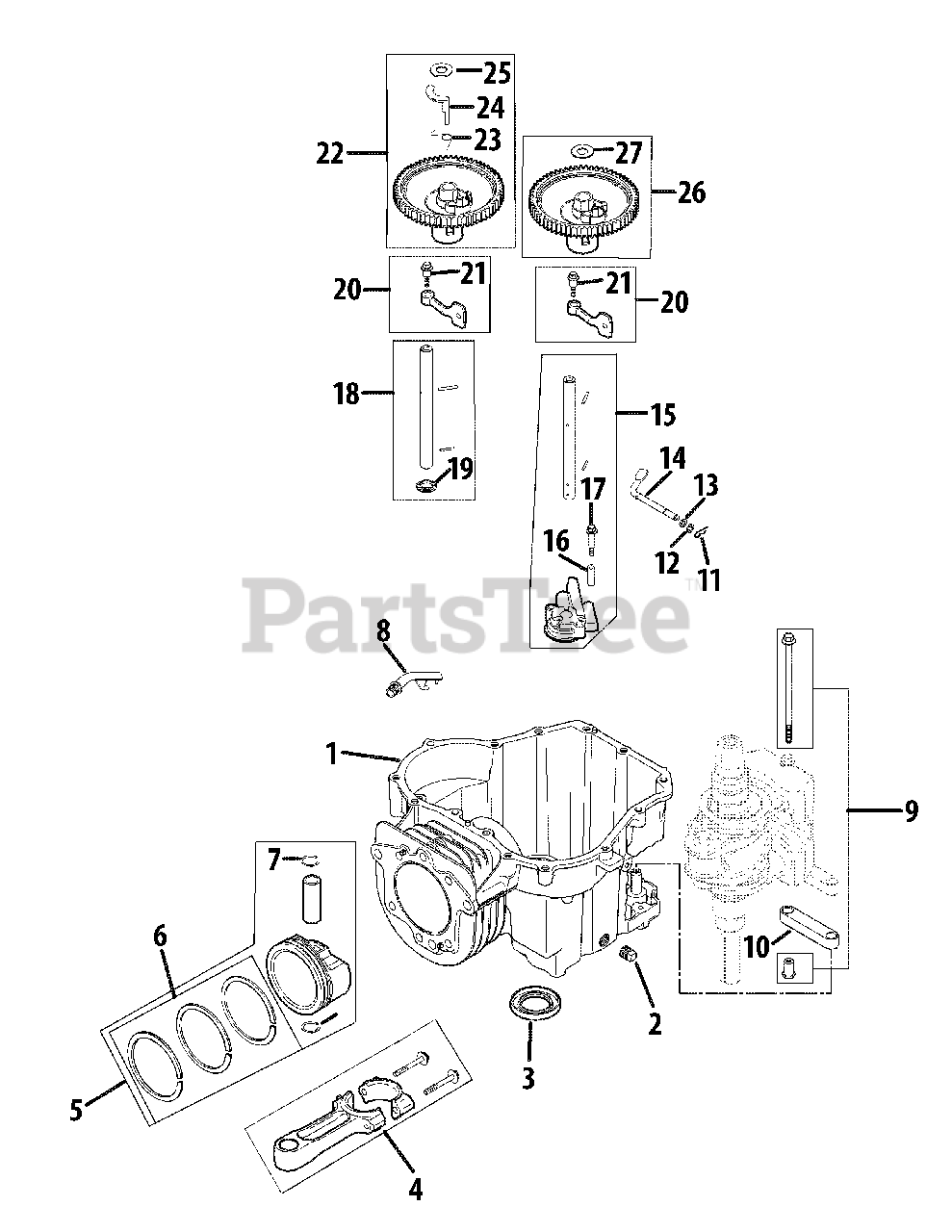 Cub Cadet Parts on the Engine Crankcase Diagram for RZT-42