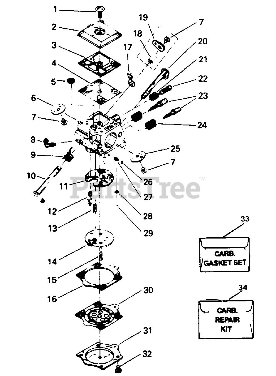 Poulan Parts on the Carburetor Assembly P/N 35094 Diagram