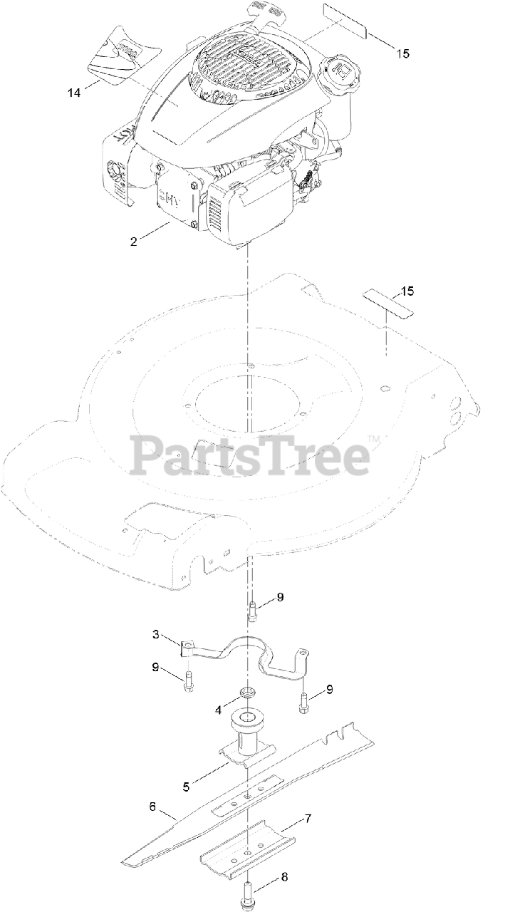 Toro Parts on the ENGINE AND BLADE ASSEMBLY Diagram for